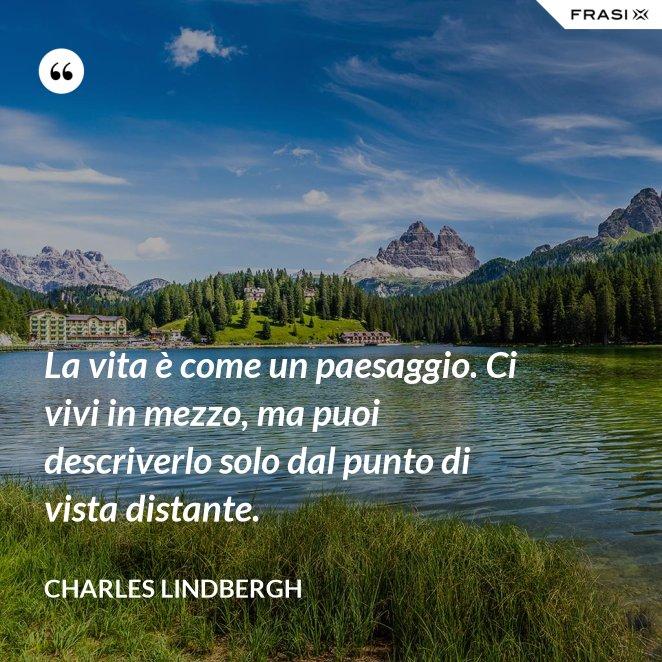 La vita è come un paesaggio. Ci vivi in mezzo, ma puoi descriverlo solo dal punto di vista distante.