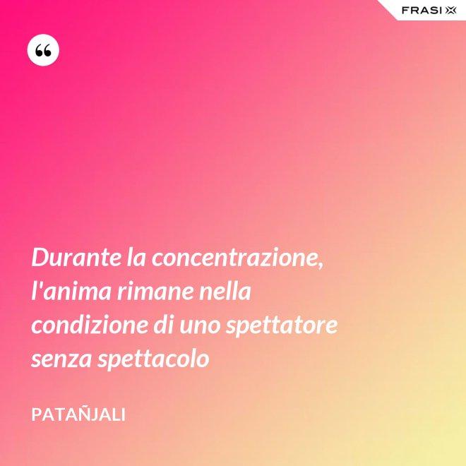 Durante la concentrazione, l'anima rimane nella condizione di uno spettatore senza spettacolo - Patañjali