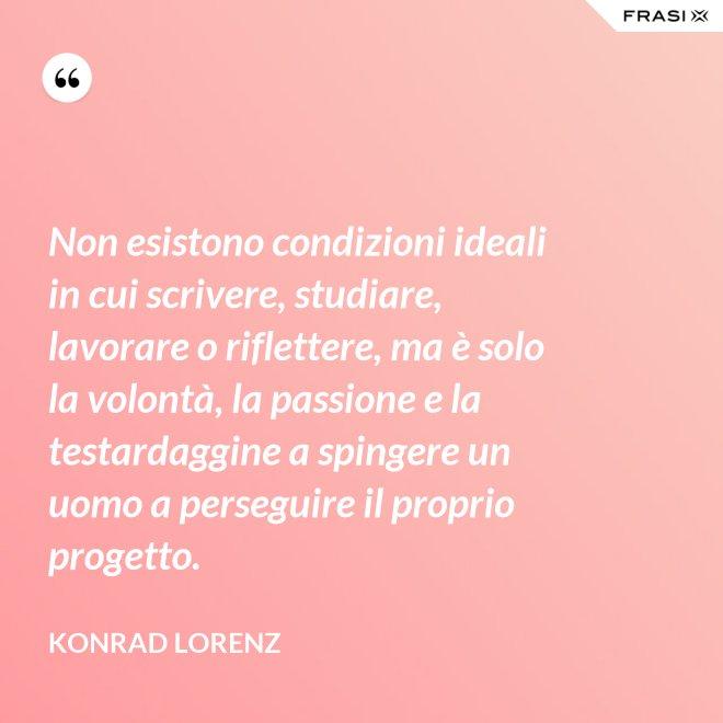 Non esistono condizioni ideali in cui scrivere, studiare, lavorare o riflettere, ma è solo la volontà, la passione e la testardaggine a spingere un uomo a perseguire il proprio progetto. - Konrad Lorenz