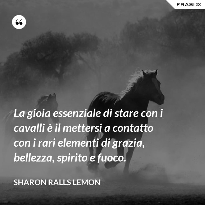 La gioia essenziale di stare con i cavalli è il mettersi a contatto con i rari elementi di grazia, bellezza, spirito e fuoco. - Sharon Ralls Lemon