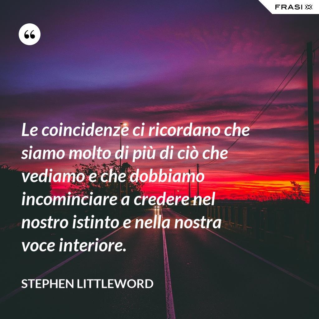 Le coincidenze ci ricordano che siamo molto di più di ciò che vediamo e che dobbiamo incominciare a credere nel nostro istinto e nella nostra voce interiore. - Stephen Littleword