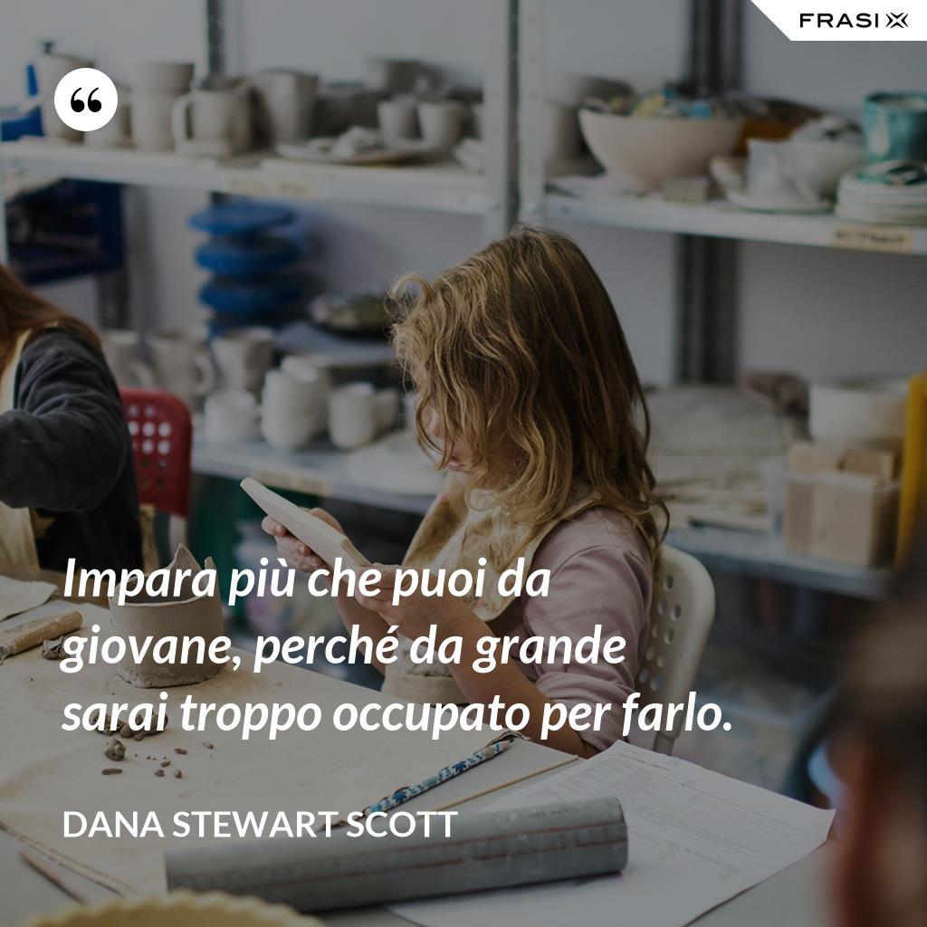 Impara più che puoi da giovane, perché da grande sarai troppo occupato per farlo. - Dana Stewart Scott
