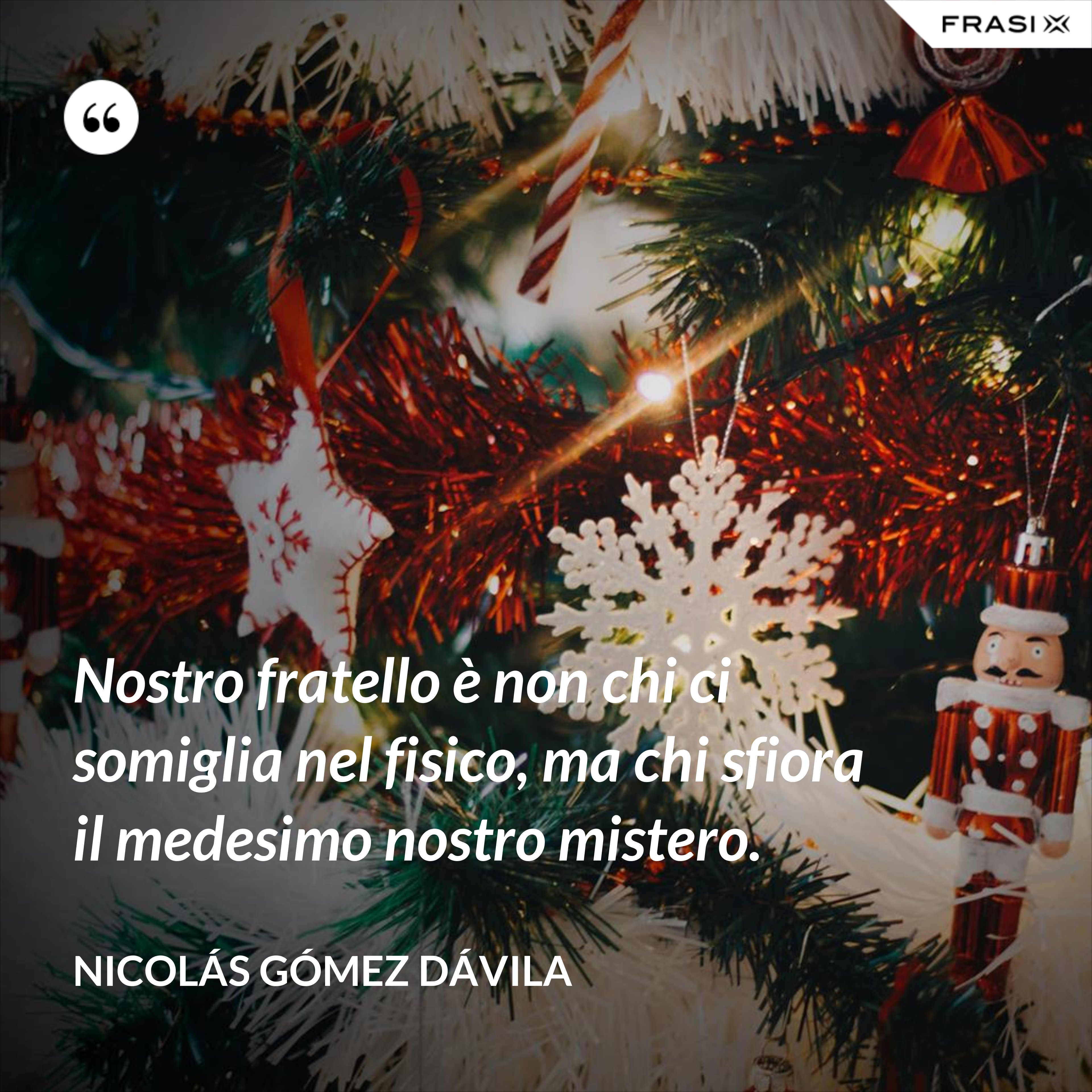 Nostro fratello è non chi ci somiglia nel fisico, ma chi sfiora il medesimo nostro mistero. - Nicolás Gómez Dávila