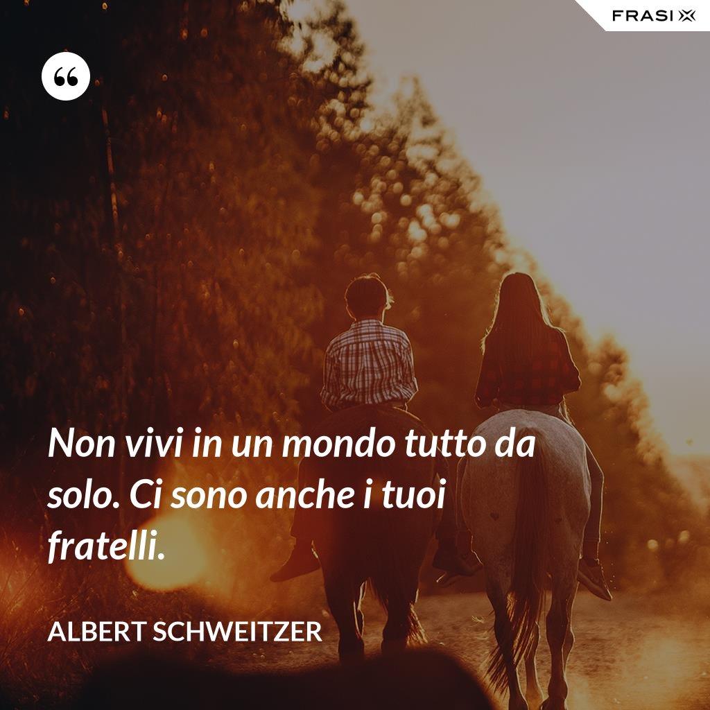 Non vivi in un mondo tutto da solo. Ci sono anche i tuoi fratelli. - Albert Schweitzer