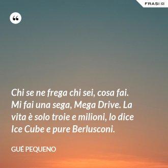 Chi se ne frega chi sei, cosa fai. Mi fai una sega, Mega Drive. La vita è solo troie e milioni, lo dice Ice Cube e pure Berlusconi.