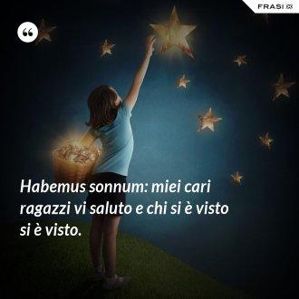 Habemus sonnum: miei cari ragazzi vi saluto e chi si è visto si è visto.