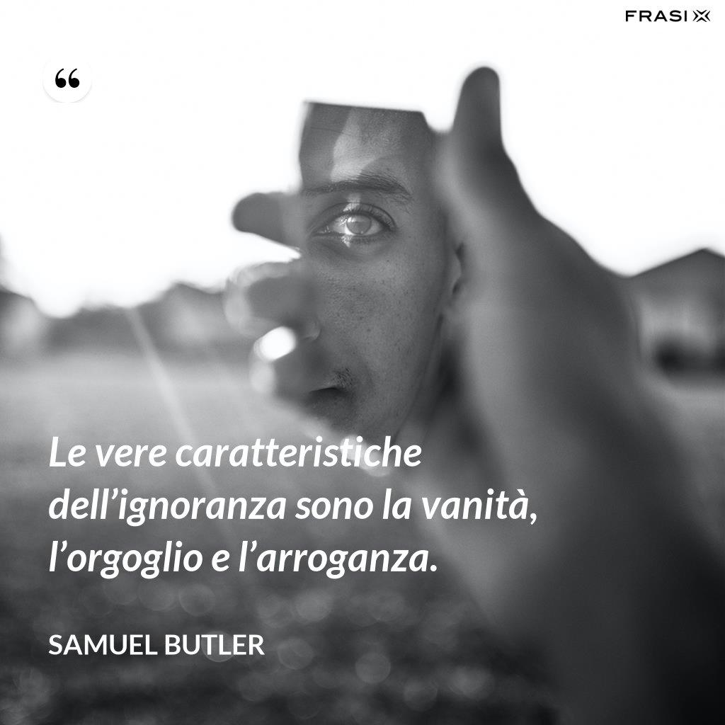 Le vere caratteristiche dell'ignoranza sono la vanità, l'orgoglio e l'arroganza. - Samuel Butler