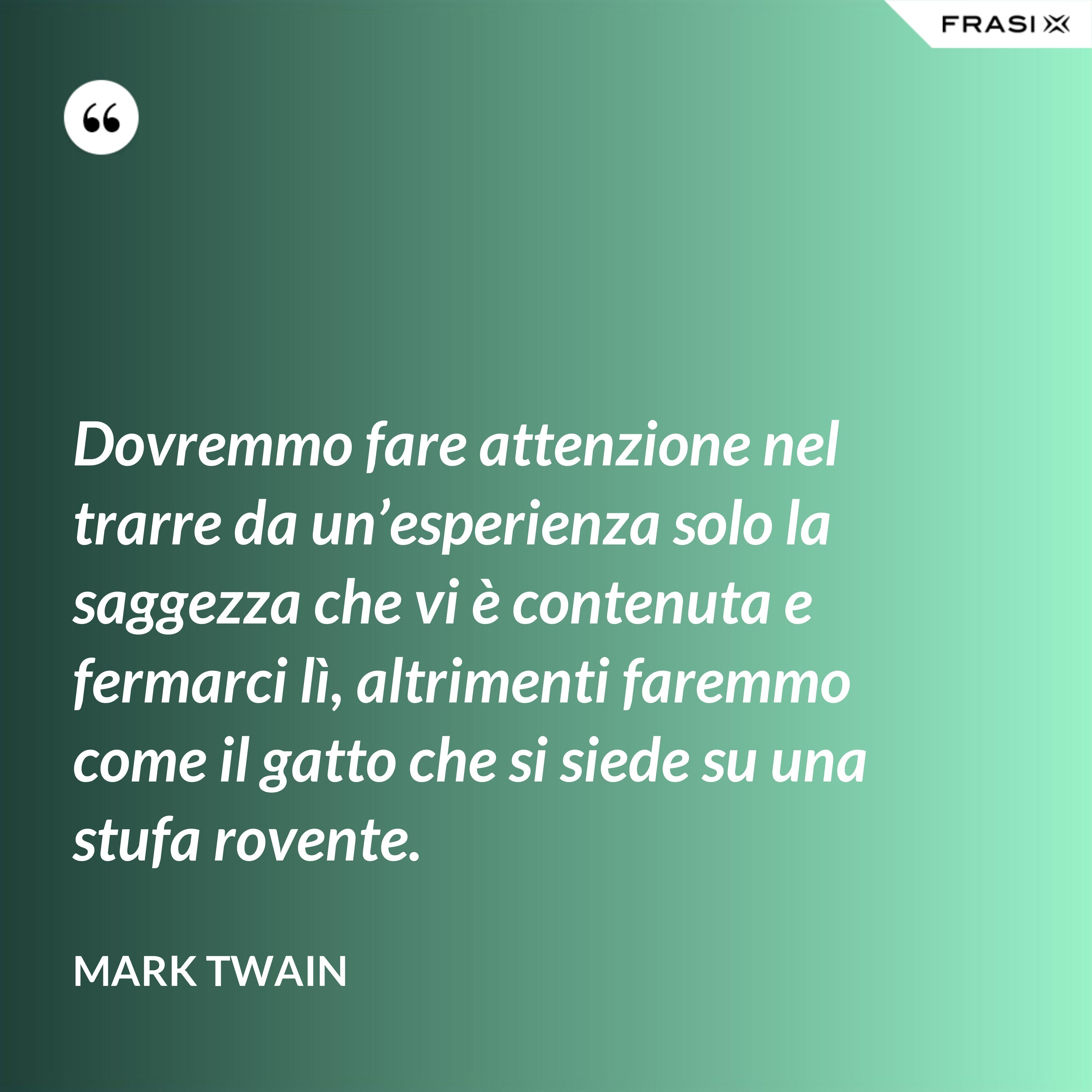 Dovremmo fare attenzione nel trarre da un'esperienza solo la saggezza che vi è contenuta e fermarci lì, altrimenti faremmo come il gatto che si siede su una stufa rovente. - Mark Twain