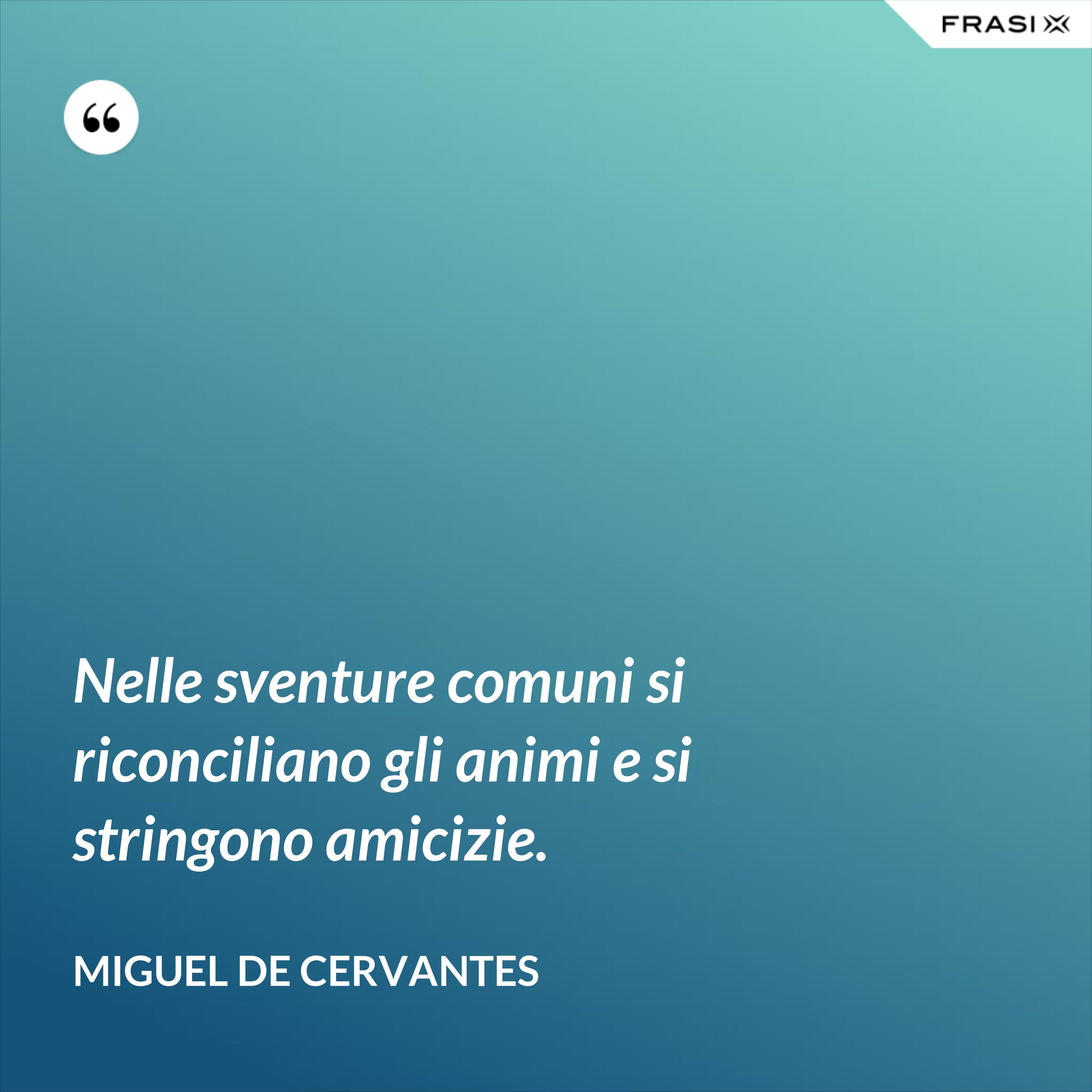 Nelle sventure comuni si riconciliano gli animi e si stringono amicizie. - Miguel de Cervantes