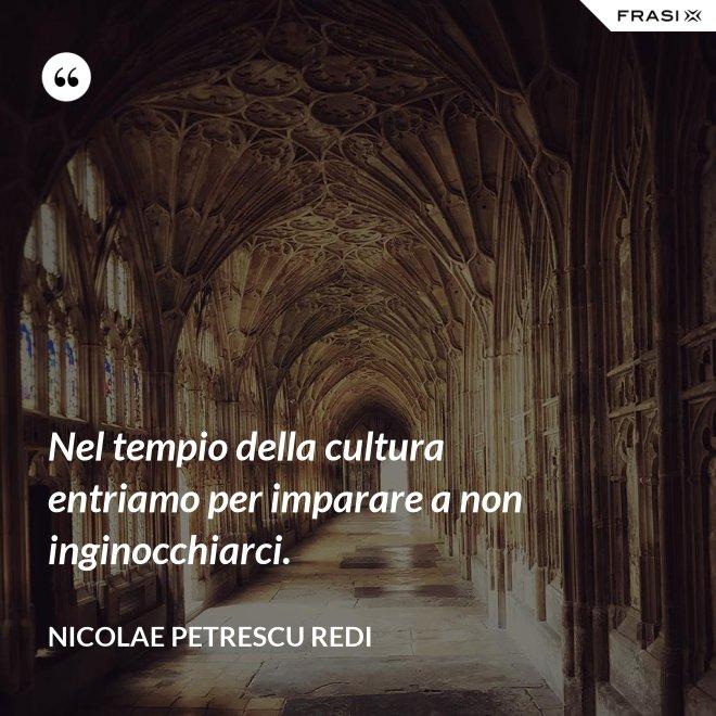 Nel tempio della cultura entriamo per imparare a non inginocchiarci. - Nicolae Petrescu Redi