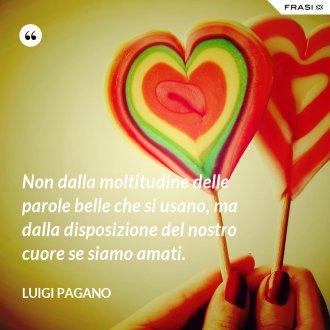 Non dalla moltitudine delle parole belle che si usano, ma dalla disposizione del nostro cuore se siamo amati.