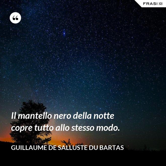 Il mantello nero della notte copre tutto allo stesso modo. - Guillaume de Salluste Du Bartas