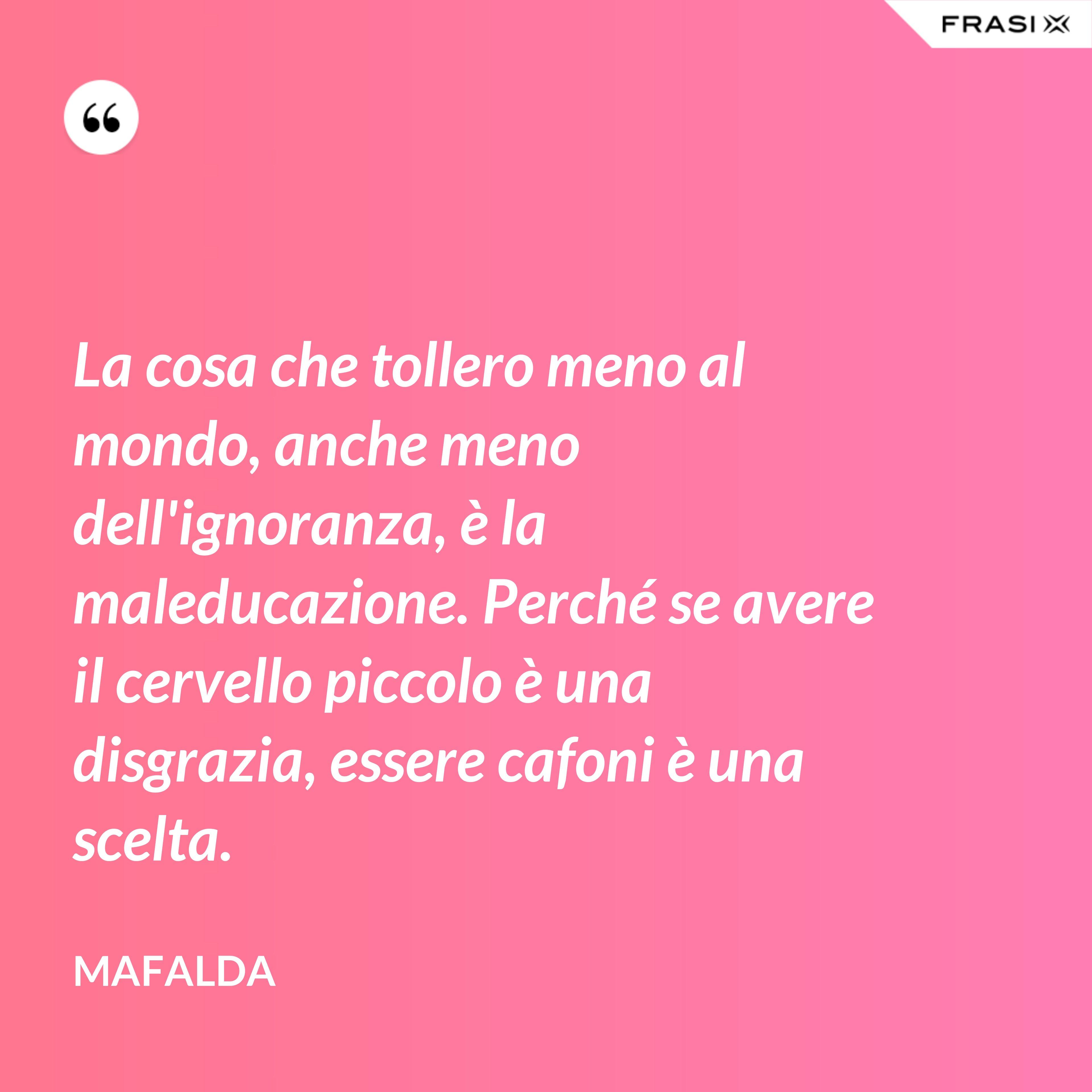 La cosa che tollero meno al mondo, anche meno dell'ignoranza, è la maleducazione. Perché se avere il cervello piccolo è una disgrazia, essere cafoni è una scelta. - Mafalda