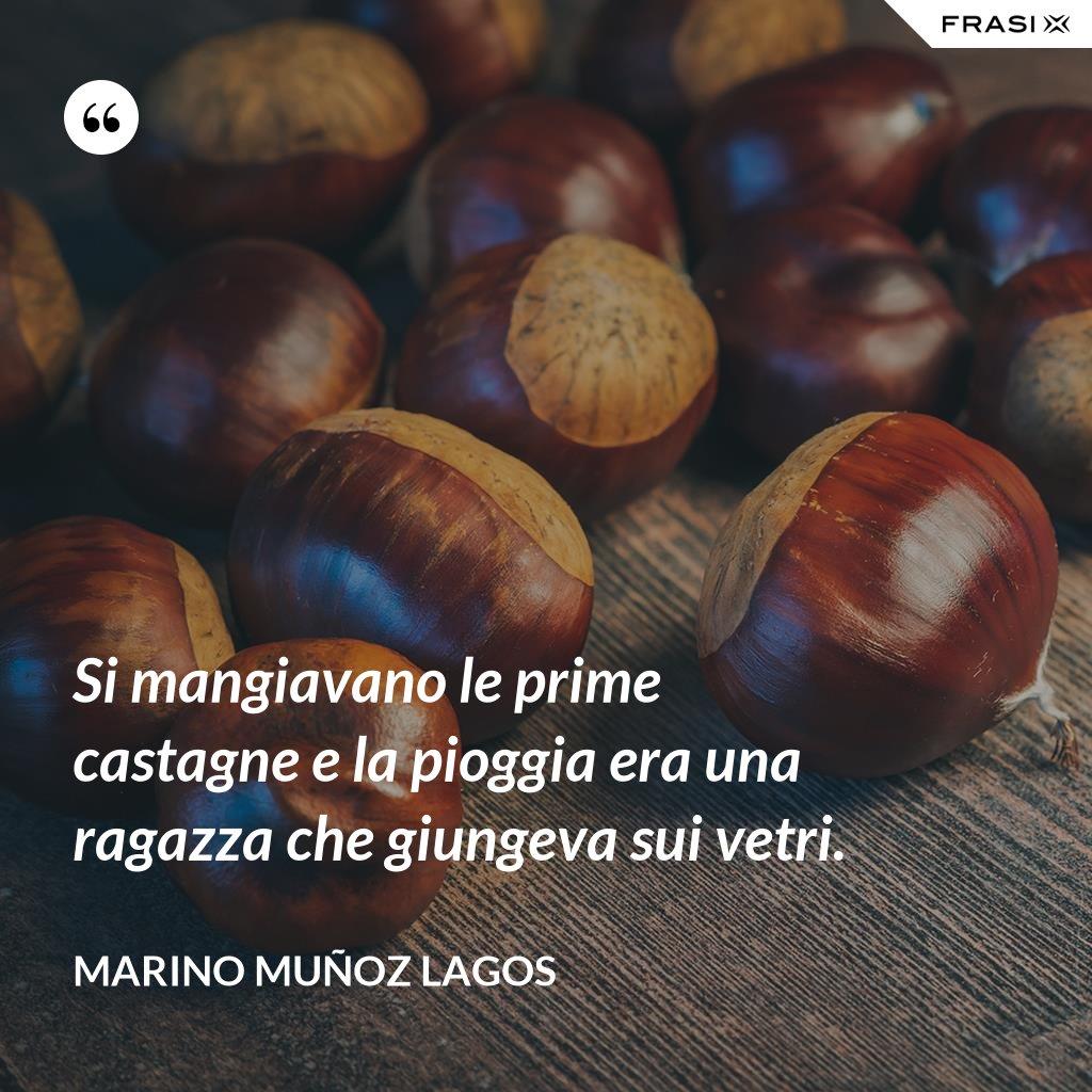 Si mangiavano le prime castagne e la pioggia era una ragazza che giungeva sui vetri. - Marino Muñoz Lagos