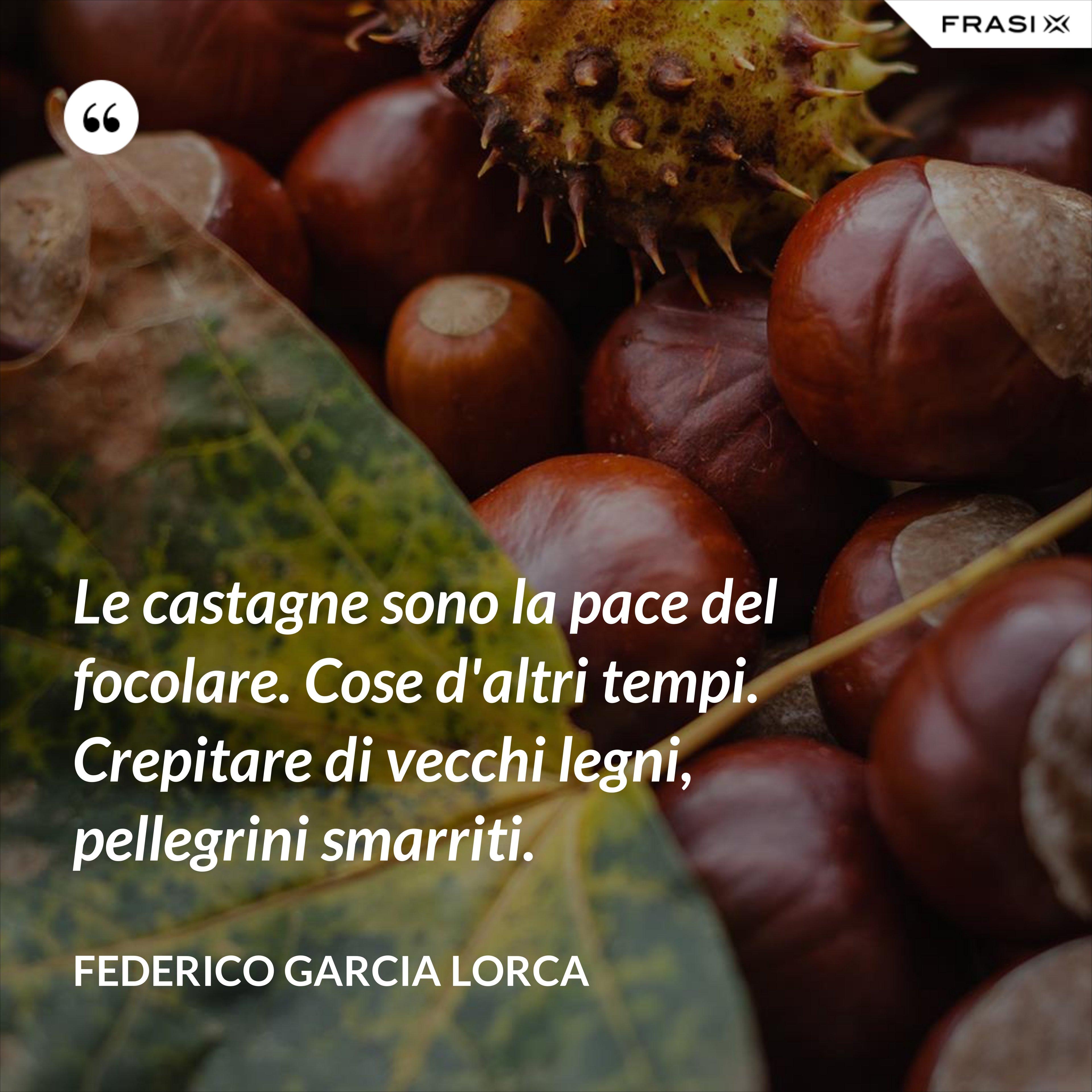 Le castagne sono la pace del focolare. Cose d'altri tempi. Crepitare di vecchi legni, pellegrini smarriti. - Federico Garcia Lorca