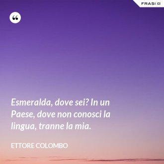 Esmeralda, dove sei? In un Paese, dove non conosci la lingua, tranne la mia.
