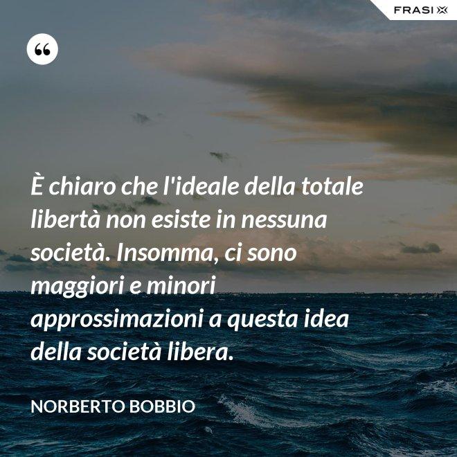 È chiaro che l'ideale della totale libertà non esiste in nessuna società. Insomma, ci sono maggiori e minori approssimazioni a questa idea della società libera. - Norberto Bobbio