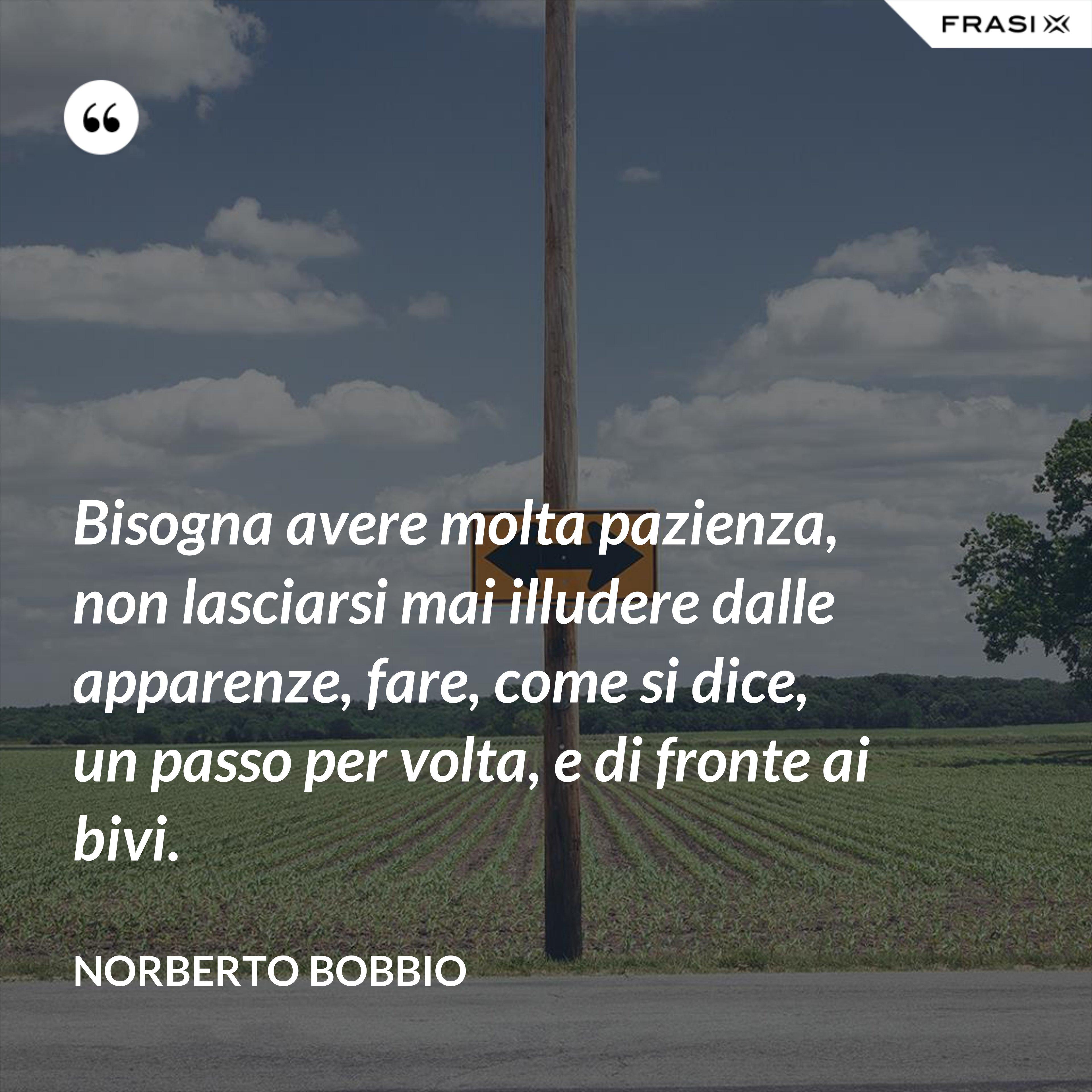 Bisogna avere molta pazienza, non lasciarsi mai illudere dalle apparenze, fare, come si dice, un passo per volta, e di fronte ai bivi. - Norberto Bobbio