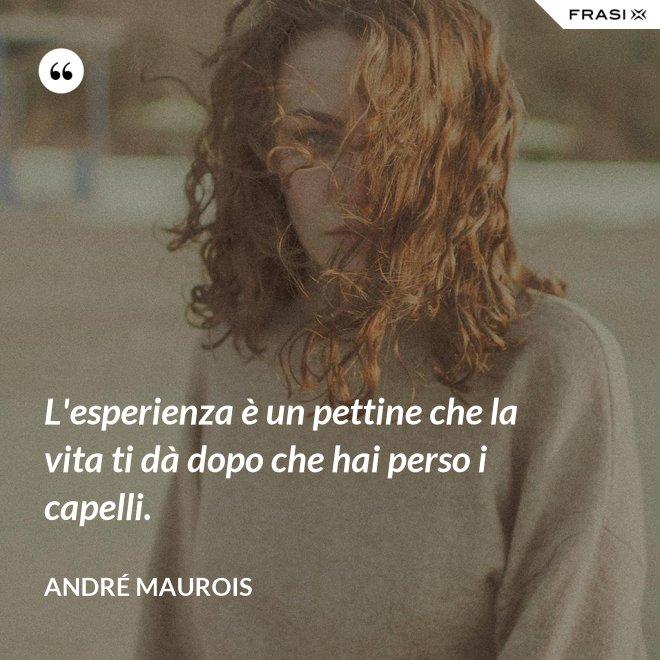 L'esperienza è un pettine che la vita ti dà dopo che hai perso i capelli. - André Maurois