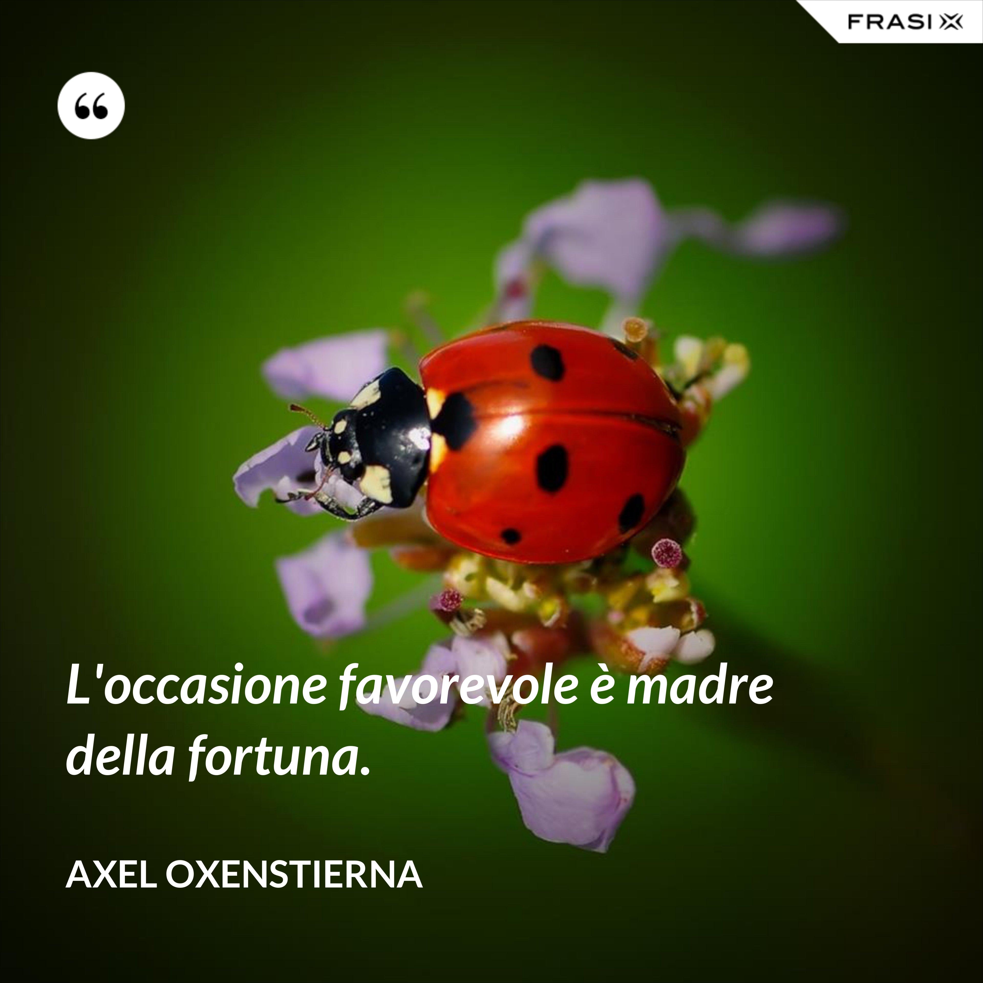 L'occasione favorevole è madre della fortuna. - Axel Oxenstierna