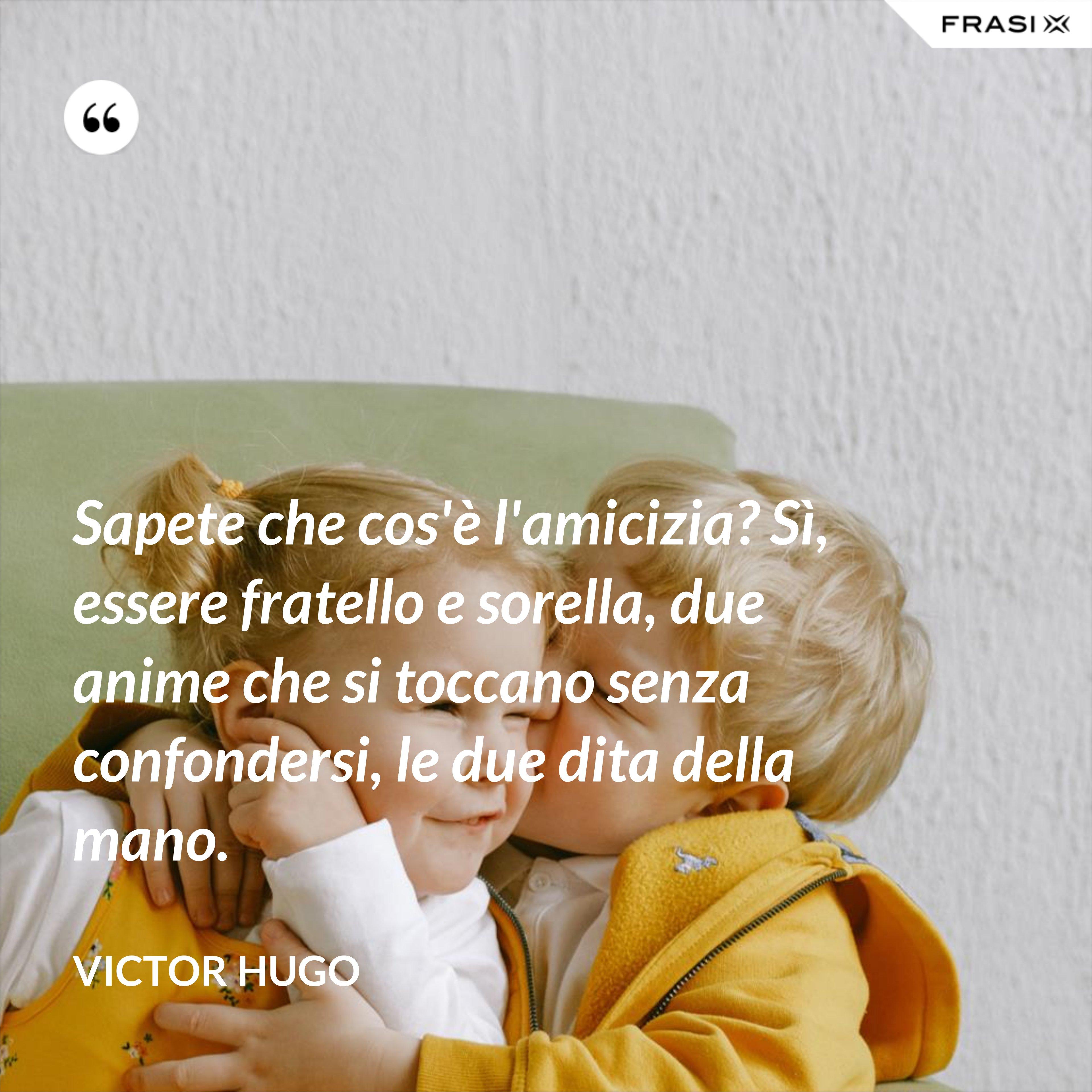 Sapete che cos'è l'amicizia? Sì, essere fratello e sorella, due anime che si toccano senza confondersi, le due dita della mano. - Victor Hugo
