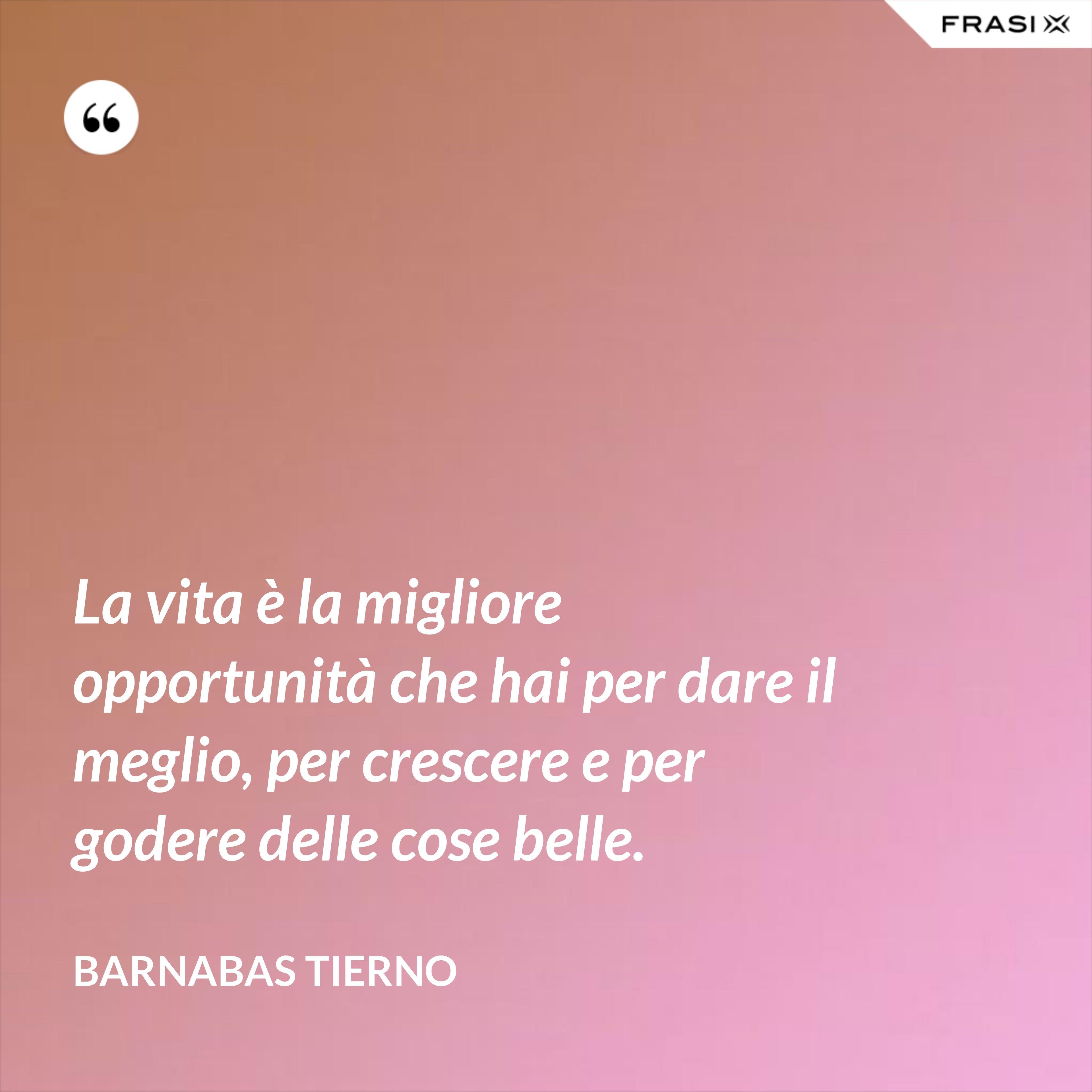 La vita è la migliore opportunità che hai per dare il meglio, per crescere e per godere delle cose belle. - Barnabas Tierno