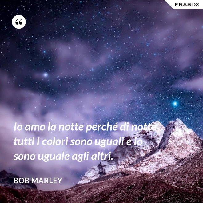 Io amo la notte perché di notte tutti i colori sono uguali e io sono uguale agli altri. - Bob Marley