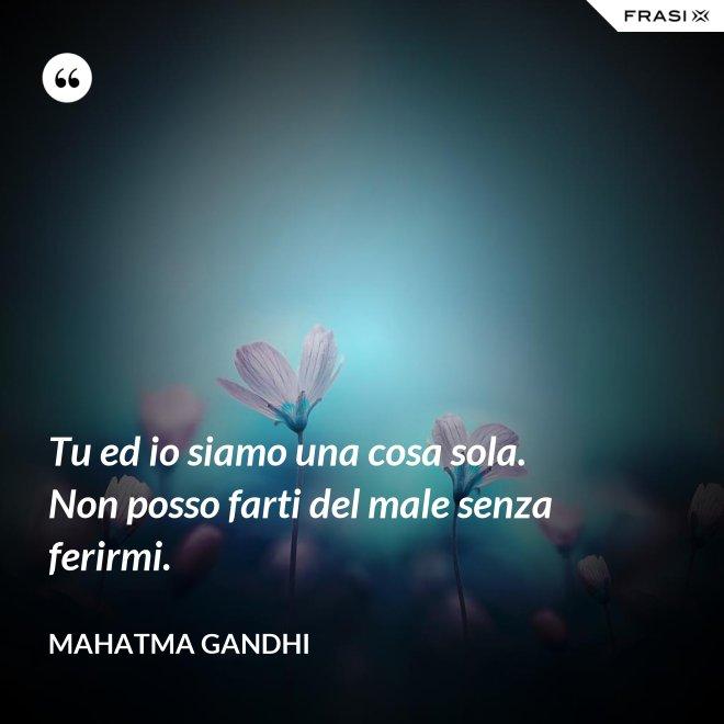 Tu ed io siamo una cosa sola. Non posso farti del male senza ferirmi. - Mahatma Gandhi