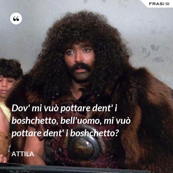 Dov' mi vuò pottare dent' i boshchetto, bell'uomo, mi vuò pottare dent' i boshchetto? - Attila