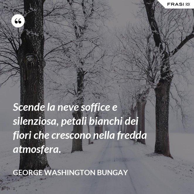 Scende la neve soffice e silenziosa, petali bianchi dei fiori che crescono nella fredda atmosfera.