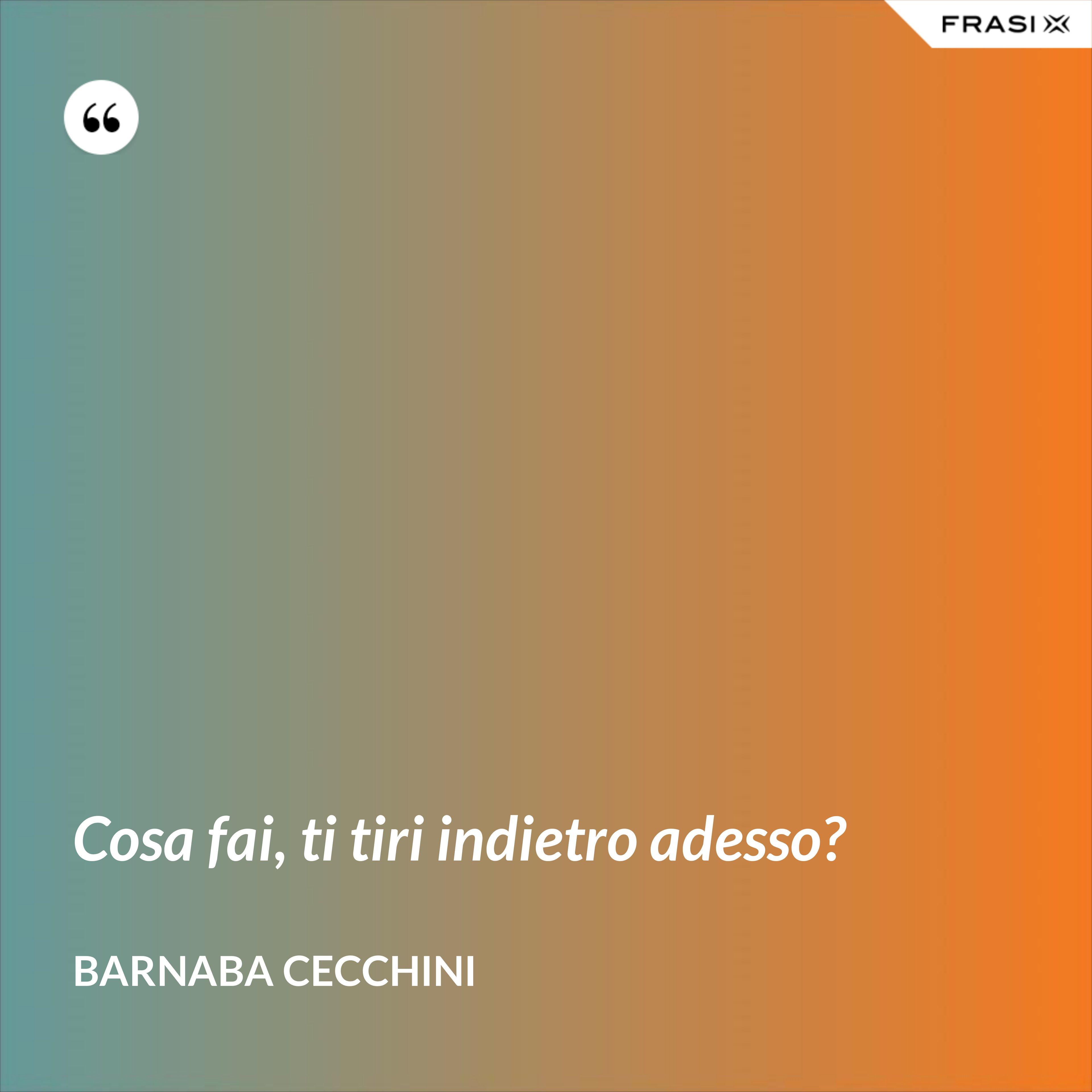 Cosa fai, ti tiri indietro adesso? - Barnaba Cecchini