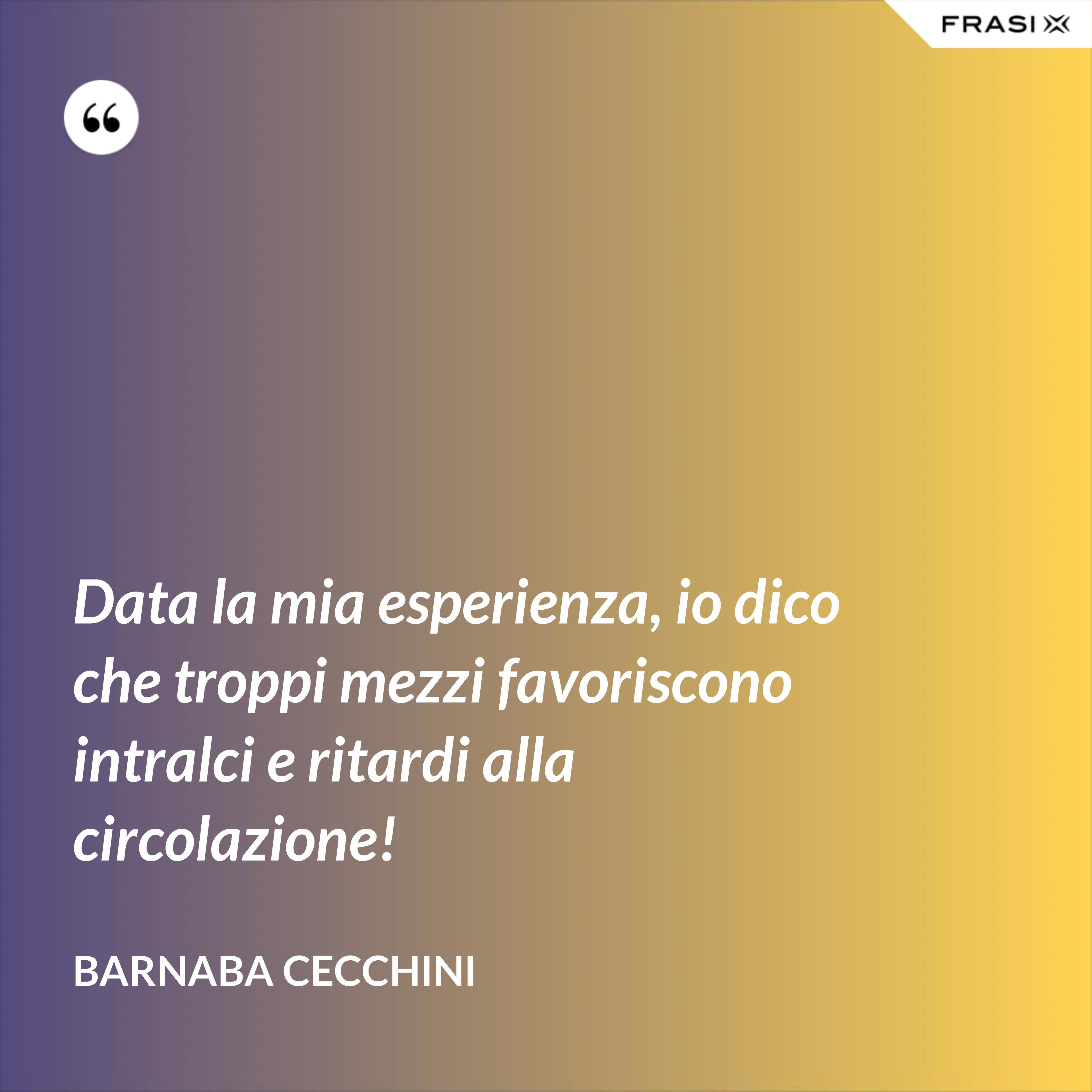 Data la mia esperienza, io dico che troppi mezzi favoriscono intralci e ritardi alla circolazione! - Barnaba Cecchini