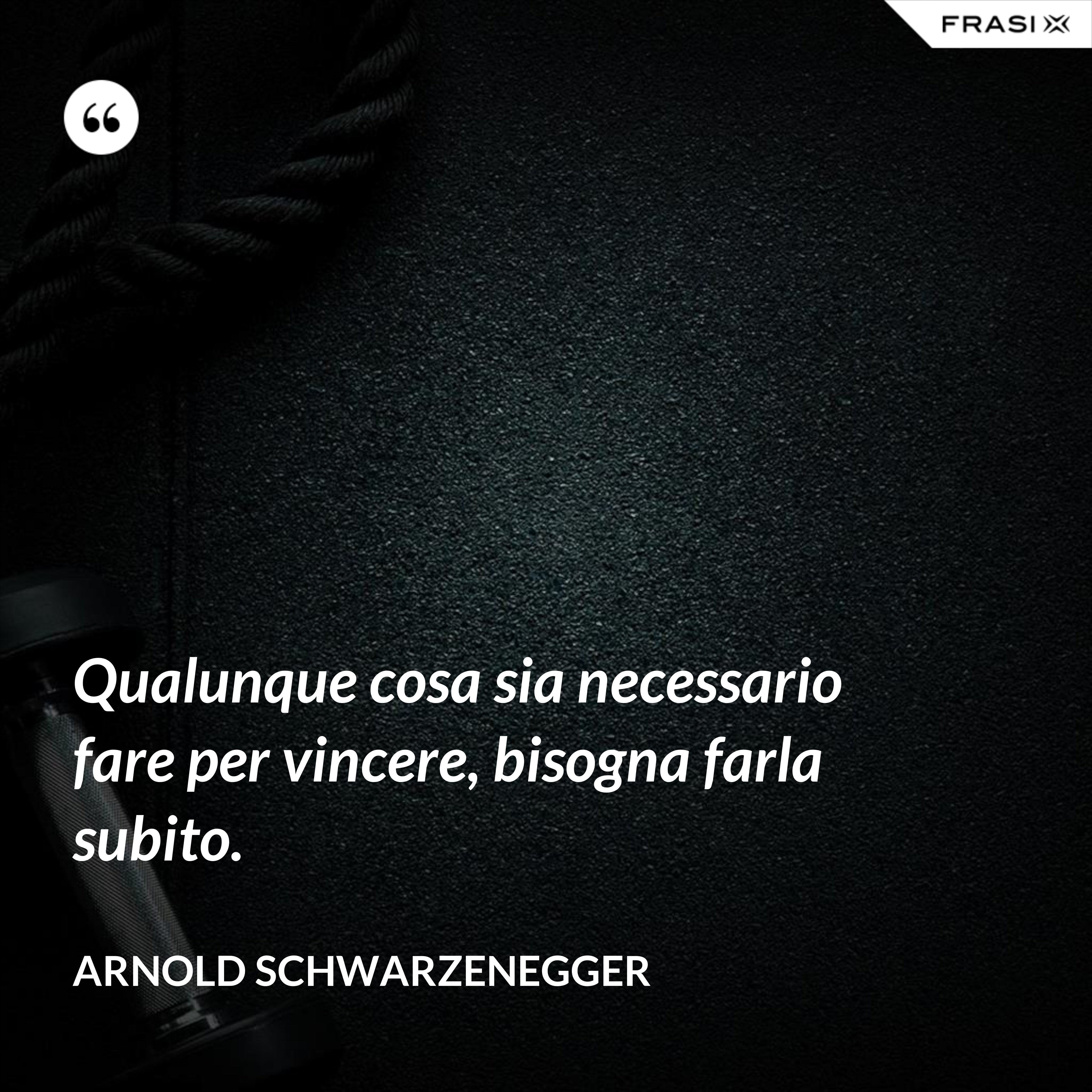 Qualunque cosa sia necessario fare per vincere, bisogna farla subito. - Arnold Schwarzenegger