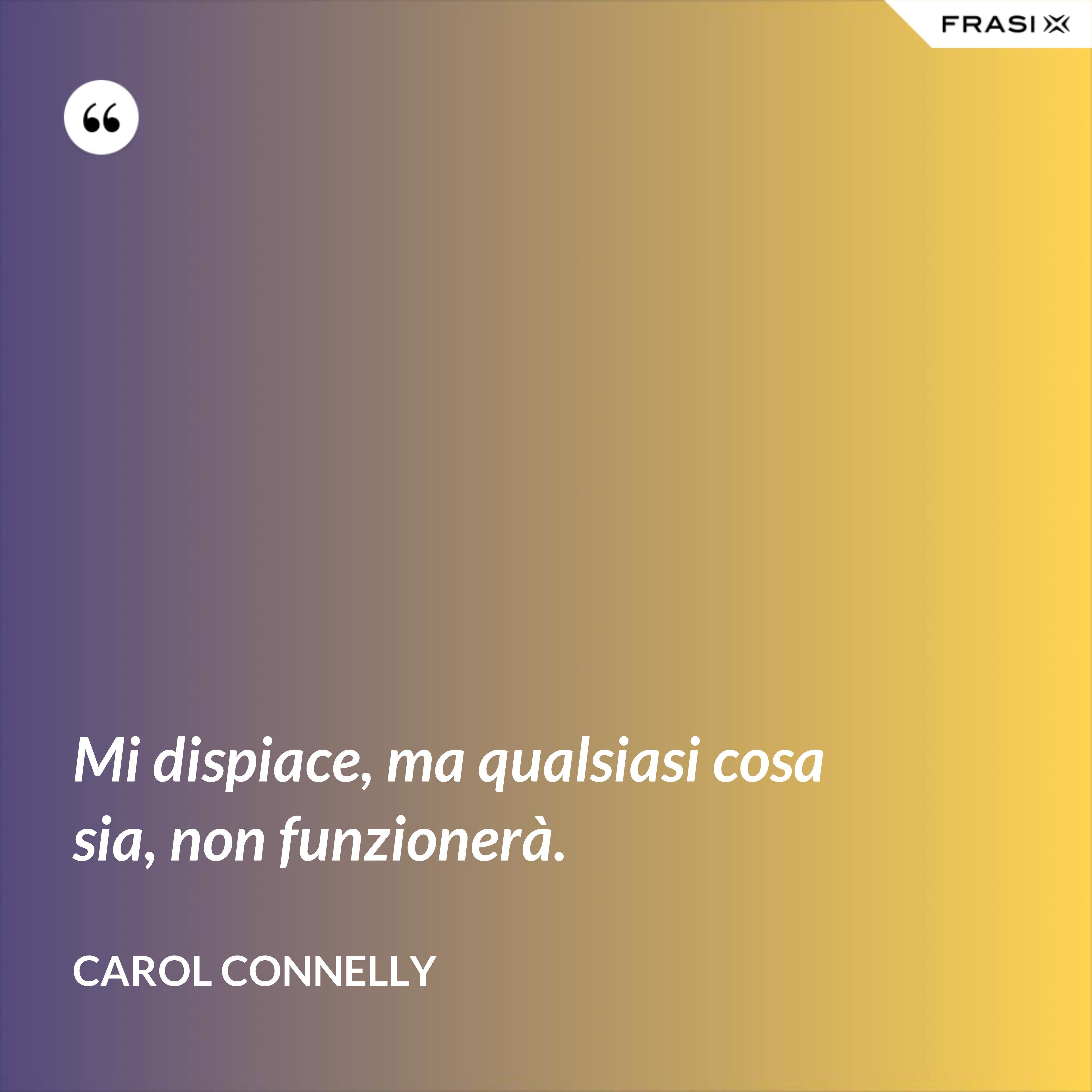Mi dispiace, ma qualsiasi cosa sia, non funzionerà. - Carol Connelly