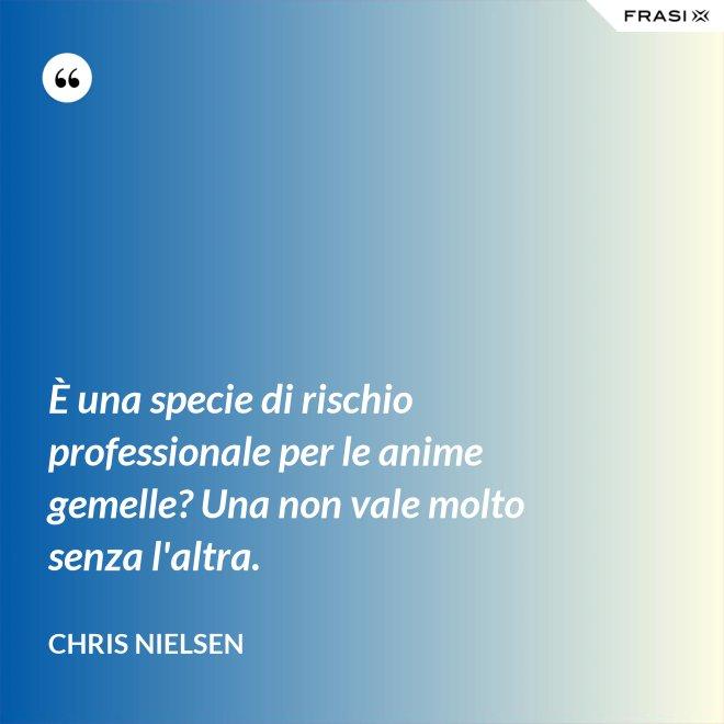È una specie di rischio professionale per le anime gemelle? Una non vale molto senza l'altra. - Chris Nielsen