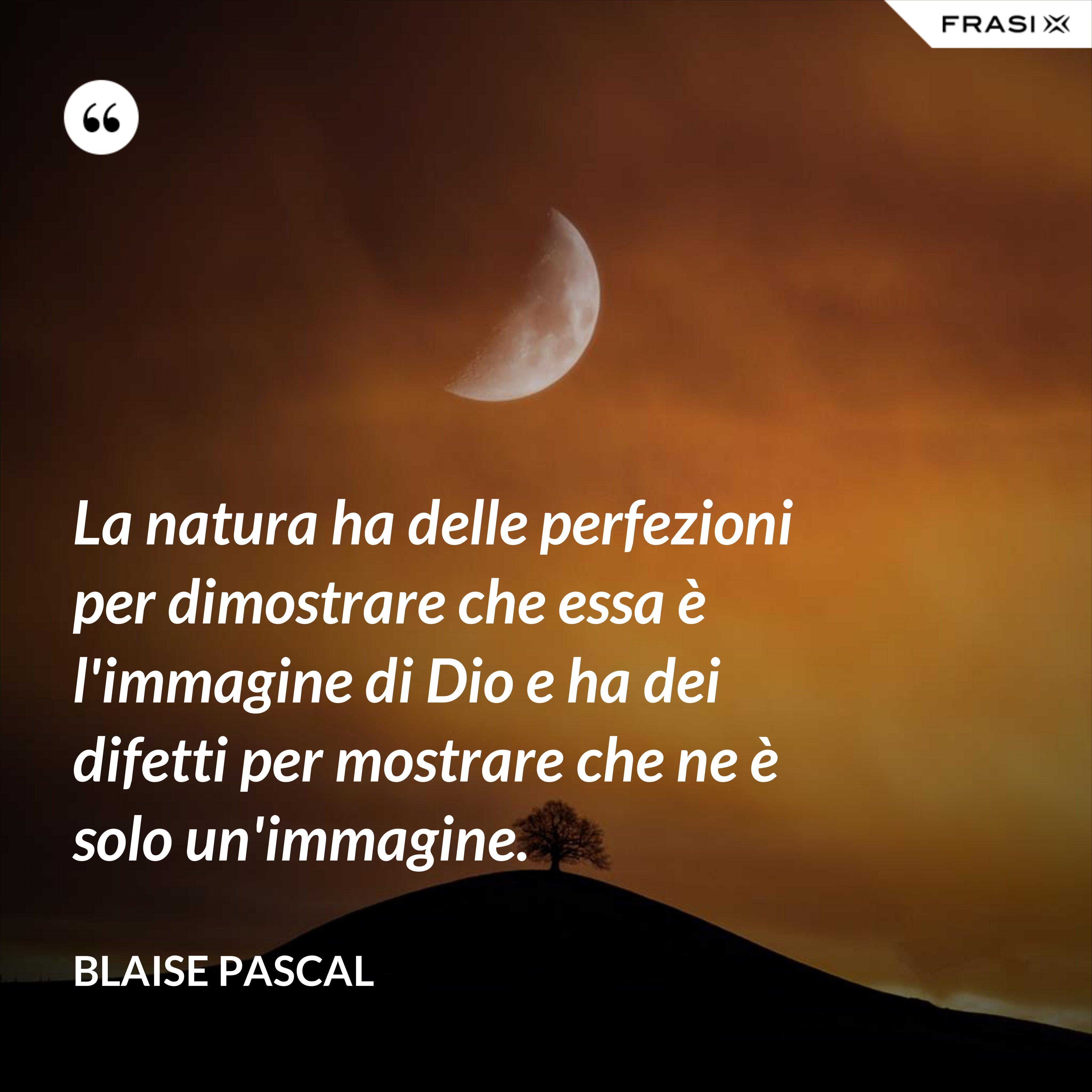 La natura ha delle perfezioni per dimostrare che essa è l'immagine di Dio e ha dei difetti per mostrare che ne è solo un'immagine. - Blaise Pascal