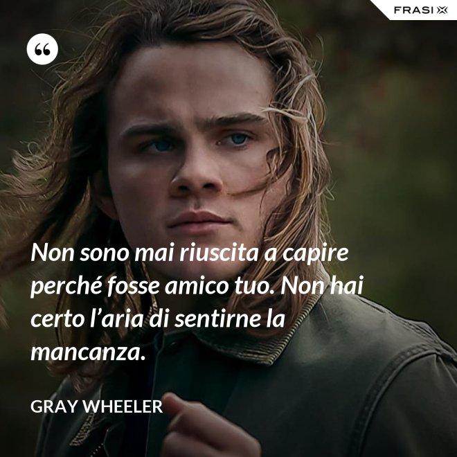 Non sono mai riuscita a capire perché fosse amico tuo. Non hai certo l'aria di sentirne la mancanza. - Gray Wheeler