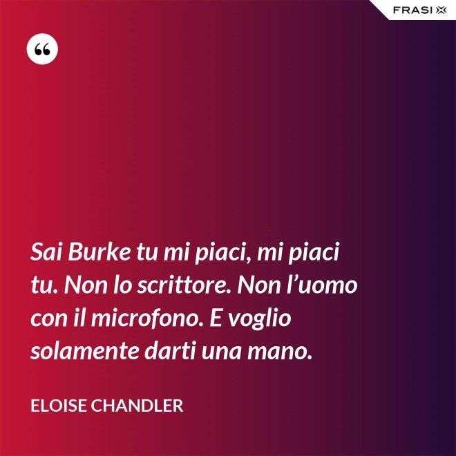 Sai Burke tu mi piaci, mi piaci tu. Non lo scrittore. Non l'uomo con il microfono. E voglio solamente darti una mano. - Eloise Chandler
