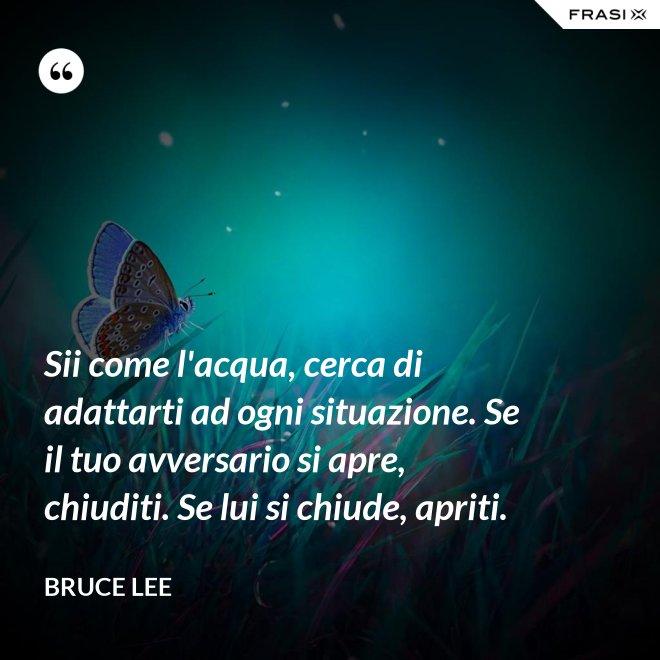 Sii come l'acqua, cerca di adattarti ad ogni situazione. Se il tuo avversario si apre, chiuditi. Se lui si chiude, apriti. - Bruce Lee