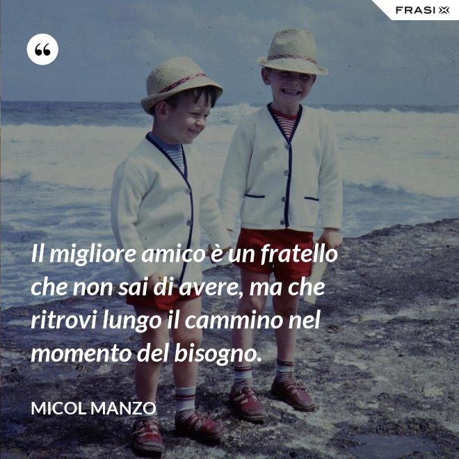 Il migliore amico è un fratello che non sai di avere, ma che ritrovi lungo il cammino nel momento del bisogno. - Micol Manzo
