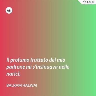 Il profumo fruttato del mio padrone mi s'insinuava nelle narici. - Balram Halwai