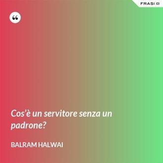 Cos'è un servitore senza un padrone? - Balram Halwai