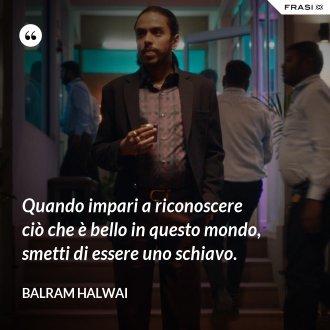 Quando impari a riconoscere ciò che è bello in questo mondo, smetti di essere uno schiavo. - Balram Halwai