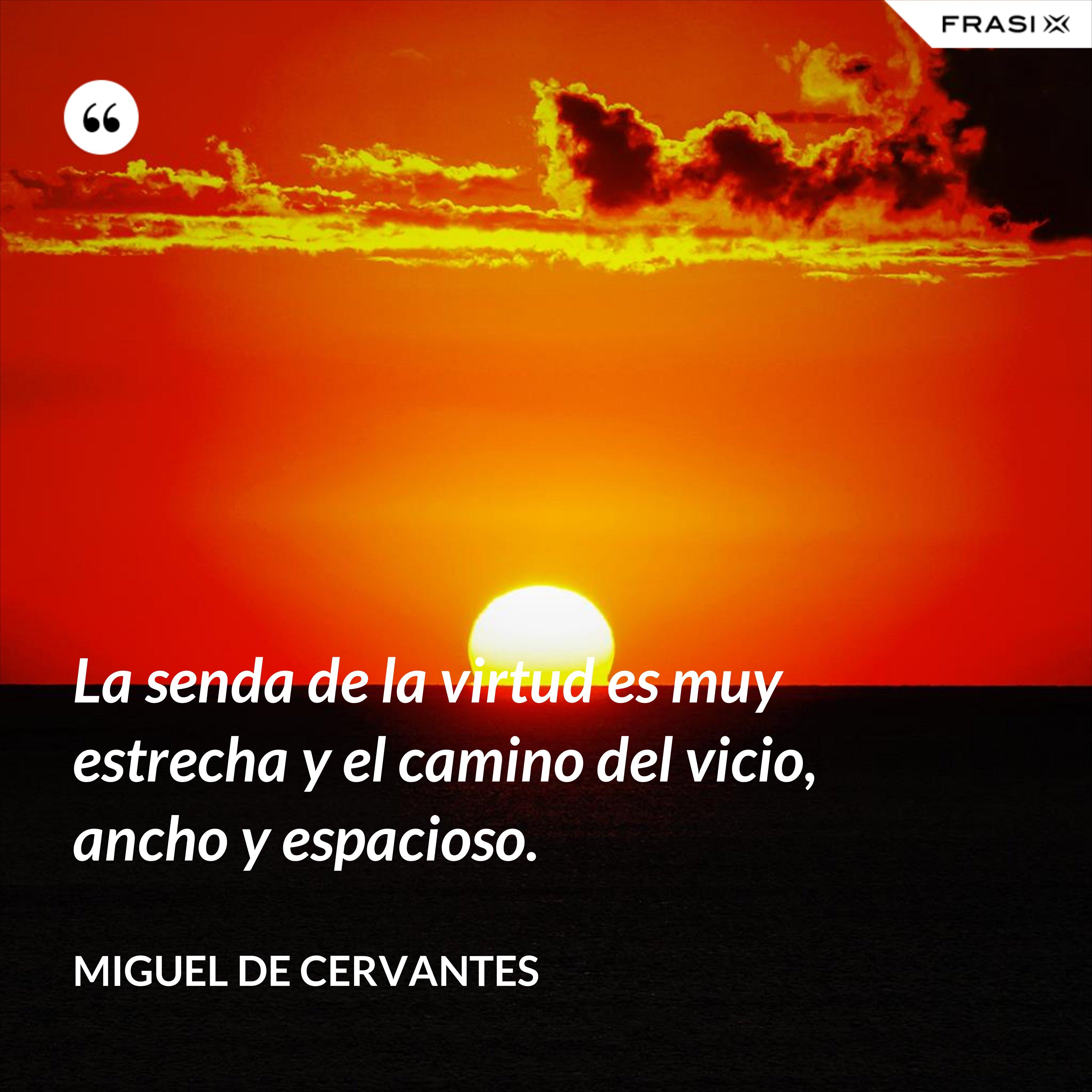 La senda de la virtud es muy estrecha y el camino del vicio, ancho y espacioso. - Miguel de Cervantes