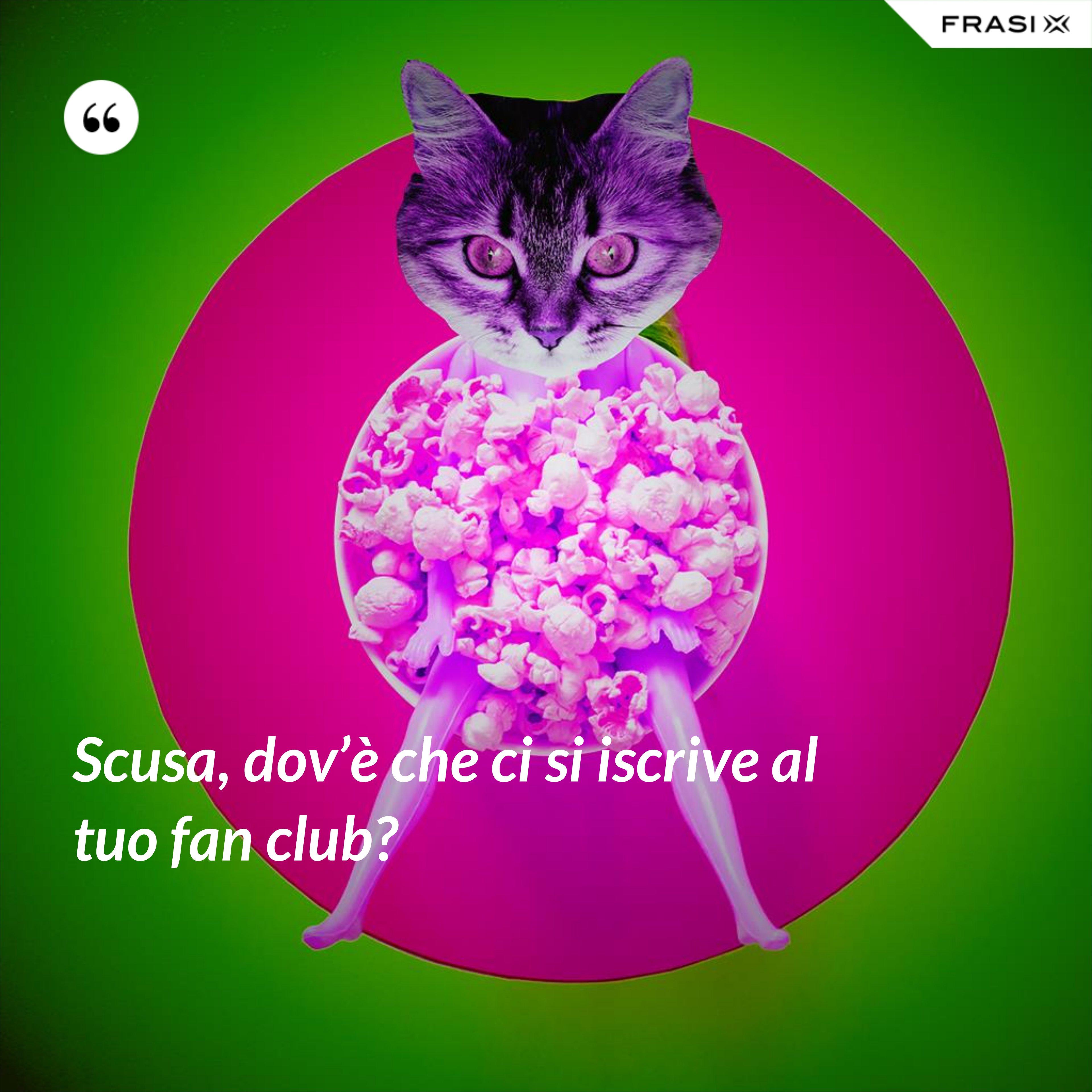 Scusa, dov'è che ci si iscrive al tuo fan club? - Anonimo