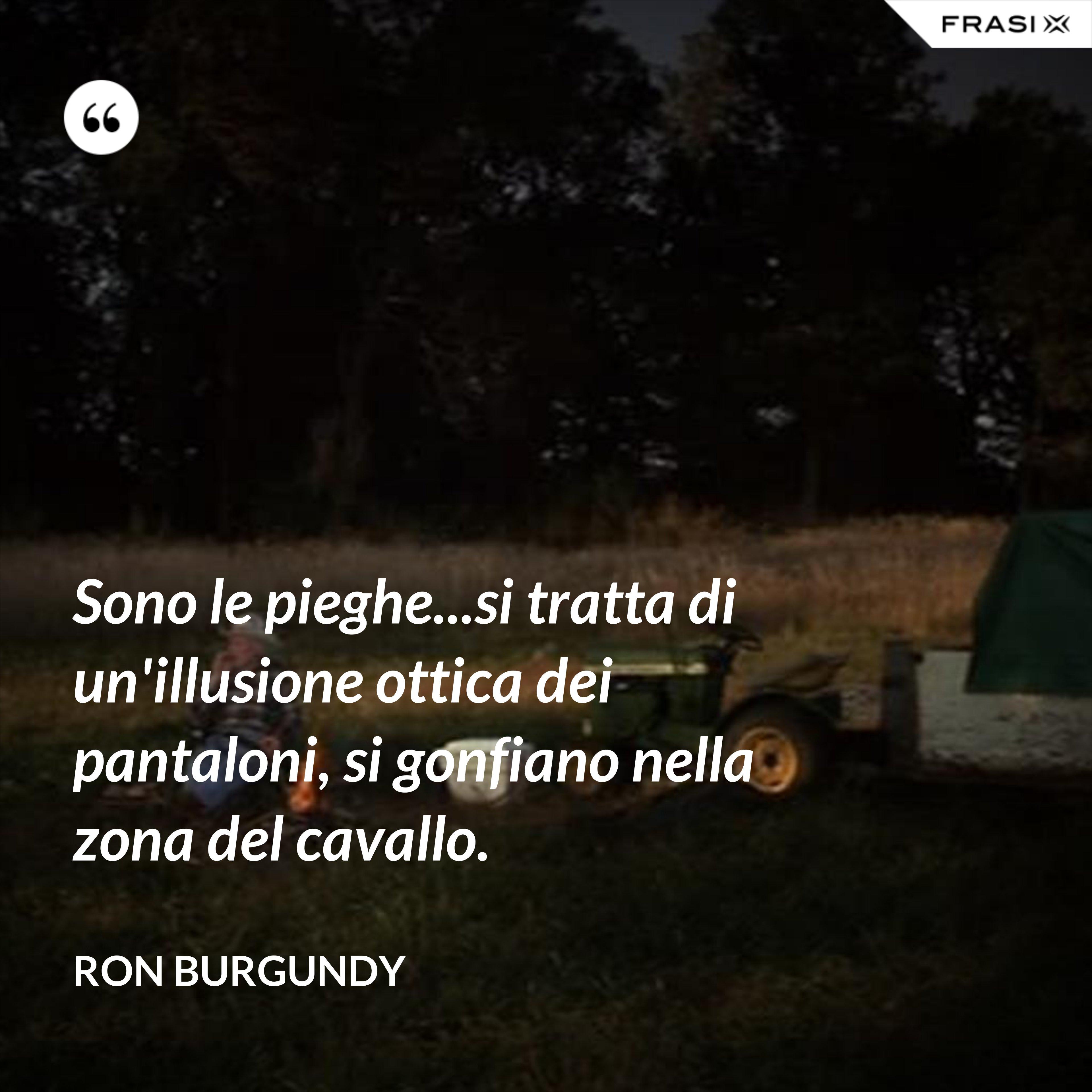 Sono le pieghe...si tratta di un'illusione ottica dei pantaloni, si gonfiano nella zona del cavallo. - Ron Burgundy