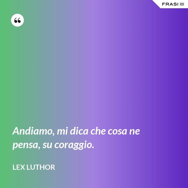 Andiamo, mi dica che cosa ne pensa, su coraggio. - Lex Luthor