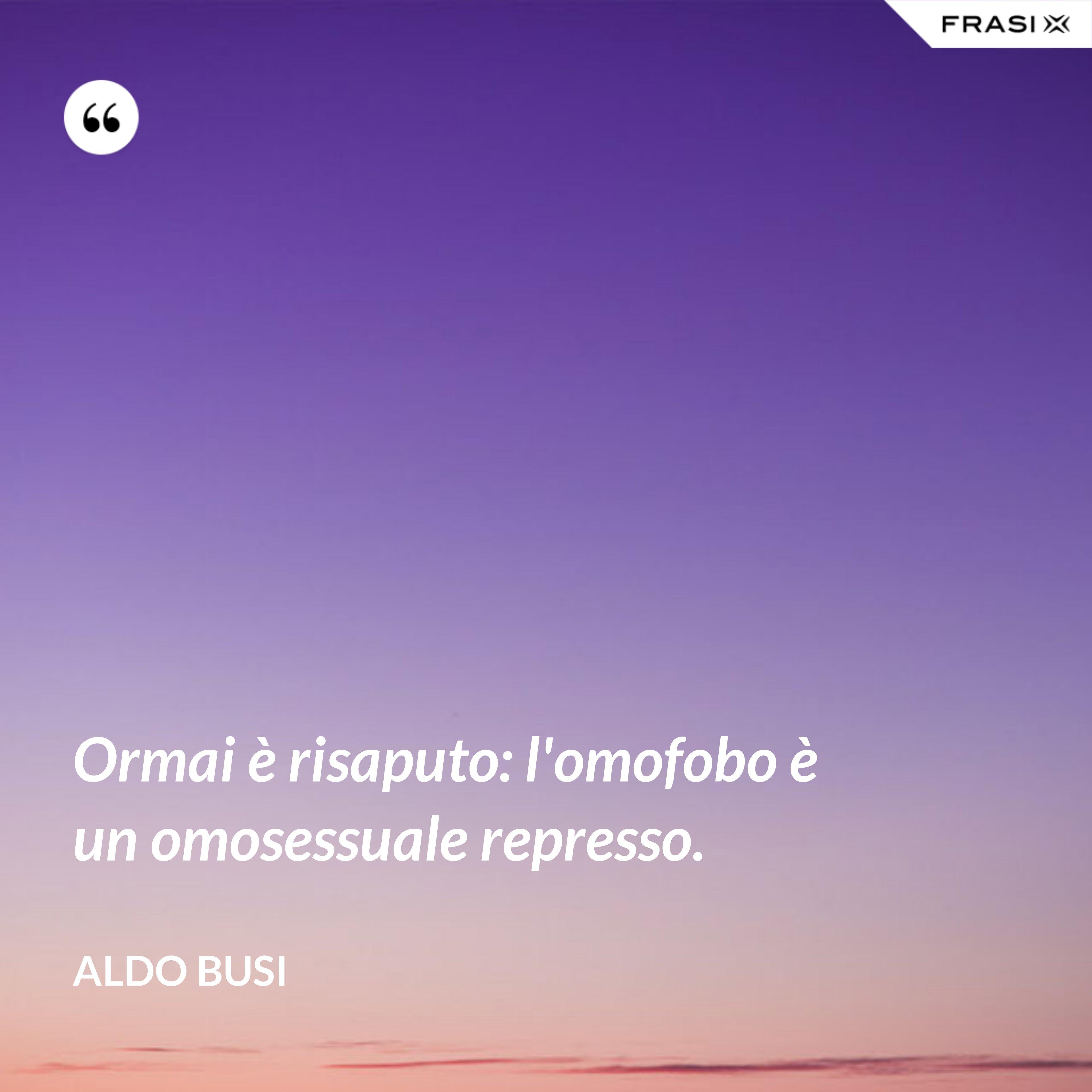 Ormai è risaputo: l'omofobo è un omosessuale represso. - Aldo Busi