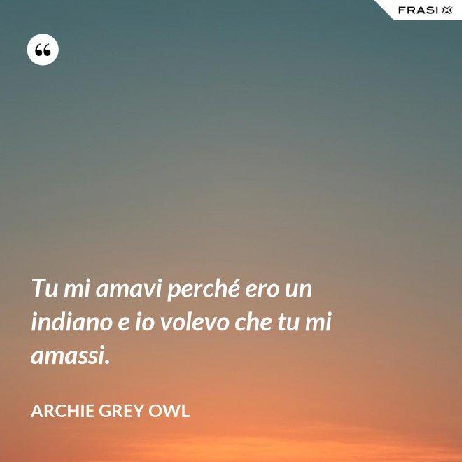 Tu mi amavi perché ero un indiano e io volevo che tu mi amassi. - Archie Grey Owl