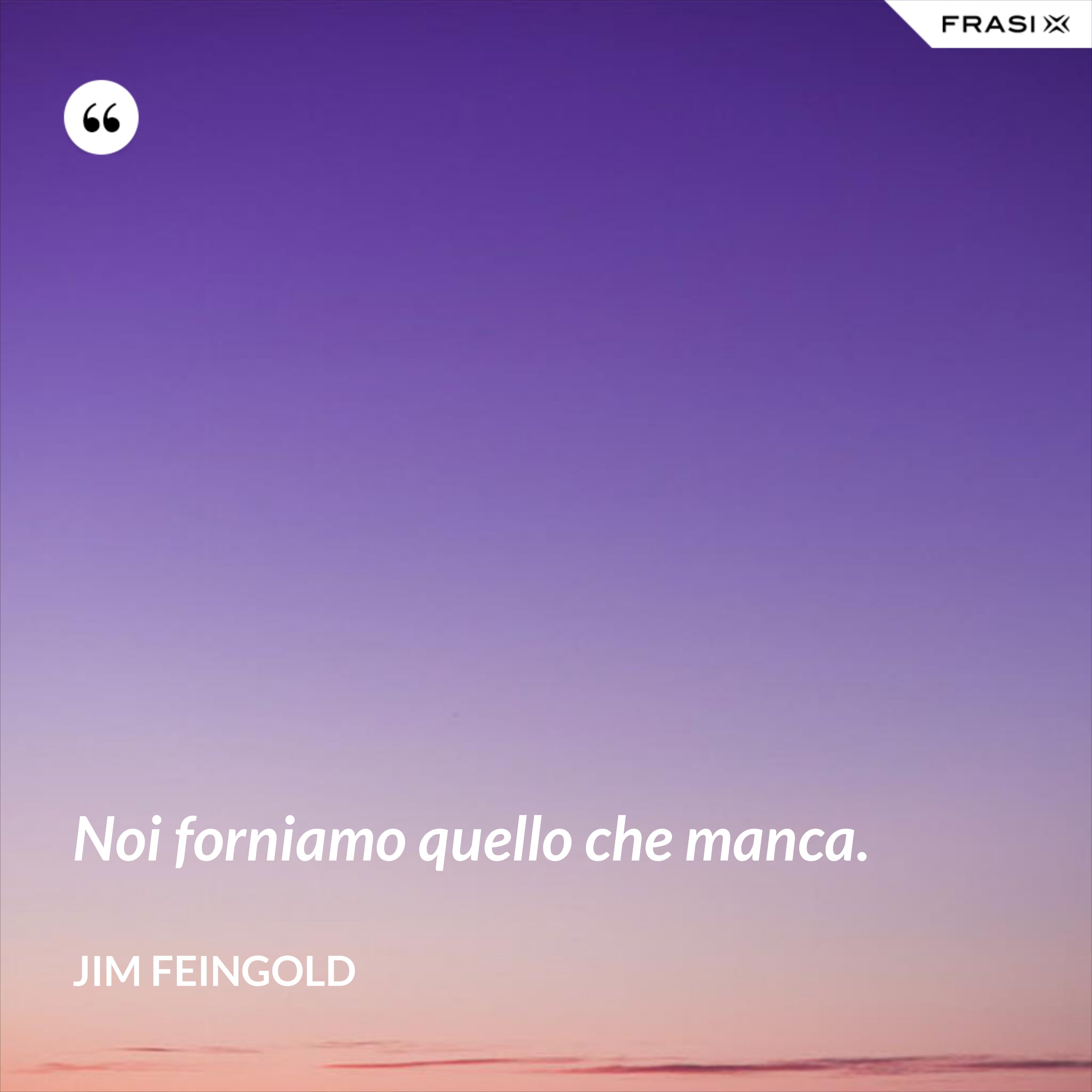 Noi forniamo quello che manca. - Jim Feingold
